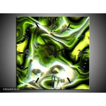 Wandklok op Canvas Abstract | Kleur: Groen, Zwart, Geel | F005449C