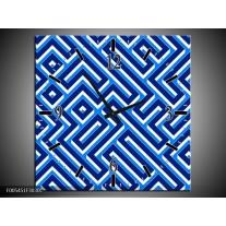 Wandklok op Canvas Abstract   Kleur: Blauw, Wit   F005451C