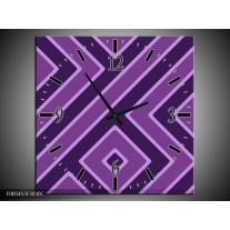 Wandklok op Canvas Abstract | Kleur: Grijs, Paars | F005453C