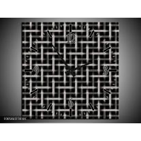 Wandklok op Canvas Abstract   Kleur: Zwart, Wit, Grijs   F005461C