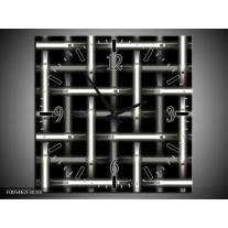 Wandklok op Canvas Abstract | Kleur: Zwart, Wit, Grijs | F005462C