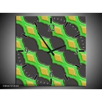 Wandklok op Canvas Abstract | Kleur: Groen, Grijs, Geel | F005473C