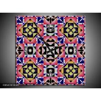 Wandklok op Canvas Abstract | Kleur: Rood, Geel, Blauw | F005474C