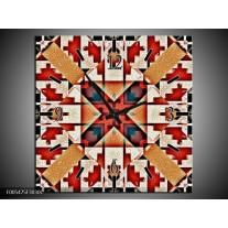 Wandklok op Canvas Abstract   Kleur: Rood, Zwart, Wit   F005475C
