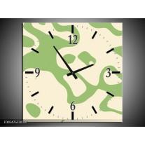 Wandklok op Canvas Abstract | Kleur: Groen, Wit | F005476C