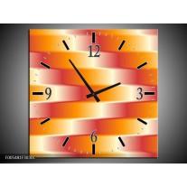 Wandklok op Canvas Abstract   Kleur: Oranje, Geel, Rood   F005481C