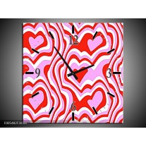 Wandklok op Canvas Abstract | Kleur: Rood, Paars, Wit | F005482C