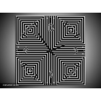 Wandklok op Canvas Abstract | Kleur: Zwart, Grijs, Wit | F005490C