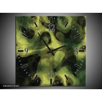 Wandklok op Canvas Abstract | Kleur: Groen, Zwart | F005495C