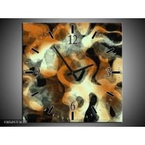 Wandklok op Canvas Abstract | Kleur: Oranje, Zwart, Grijs | F005497C