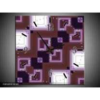 Wandklok op Canvas Abstract   Kleur: Bruin, Wit, Paars   F005499C
