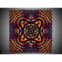 Wandklok op Canvas Abstract   Kleur: Geel, Oranje, Blauw   F005500C