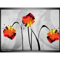 Foto canvas schilderij Klaproos | Oranje, Grijs, Zwart