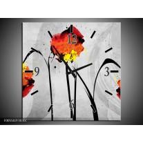 Wandklok op Canvas Klaproos | Kleur: Oranje, Grijs, Zwart | F005502C