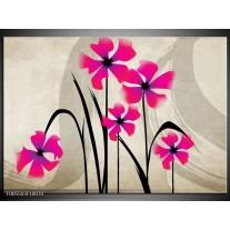 Foto canvas schilderij Bloem | Roze, Zwart, Creme