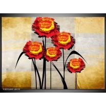 Foto canvas schilderij Bloem | Oranje, Geel, Grijs