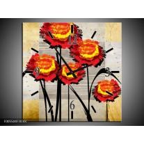 Wandklok op Canvas Bloem | Kleur: Oranje, Geel, Grijs | F005504C