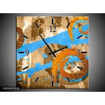 Wandklok op Canvas Art | Kleur: Blauw, Oranje, Bruin | F005505C