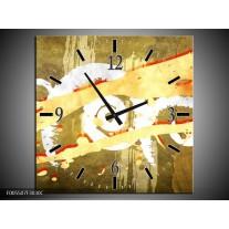 Wandklok op Canvas Art | Kleur: Geel, Rood, Bruin | F005507C