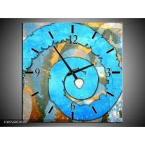 Wandklok op Canvas Art | Kleur: Blauw, Geel, Wit | F005508C