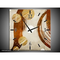 Wandklok op Canvas Art   Kleur: Bruin, Creme   F005509C
