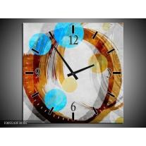 Wandklok op Canvas Art | Kleur: Blauw, Bruin, Grijs | F005510C