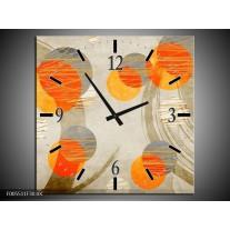 Wandklok op Canvas Art | Kleur: Oranje, Grijs, Geel | F005511C
