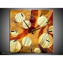 Wandklok op Canvas Art | Kleur: Bruin, Geel | F005512C