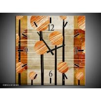 Wandklok op Canvas Art | Kleur: Bruin, Grijs | F005513C