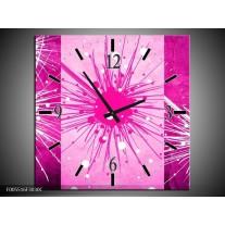 Wandklok op Canvas Art   Kleur: Roze, Paars, Wit   F005516C