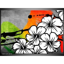 Foto canvas schilderij Art   Wit, Oranje, Grijs