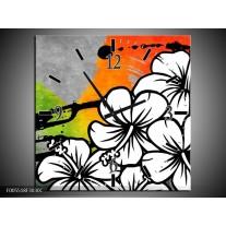 Wandklok op Canvas Art   Kleur: Wit, Oranje, Grijs   F005518C