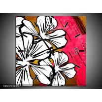 Wandklok op Canvas Art   Kleur: Wit, Roze, Bruin   F005519C