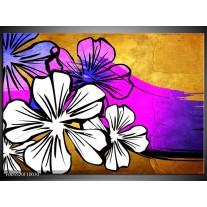 Foto canvas schilderij Art | Bruin, Wit, Paars