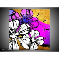 Wandklok op Canvas Art | Kleur: Bruin, Wit, Paars | F005520C