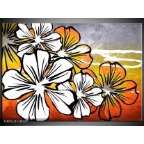 Foto canvas schilderij Art | Wit, Oranje, Grijs