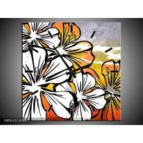 Wandklok op Canvas Art | Kleur: Wit, Oranje, Grijs | F005521C