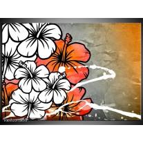 Foto canvas schilderij Art | Grijs, Oranje, Wit