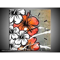 Wandklok op Canvas Art | Kleur: Grijs, Oranje, Wit | F005522C