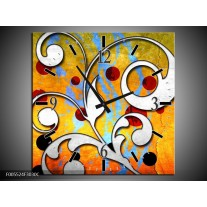 Wandklok op Canvas Art   Kleur: Oranje, Wit, Rood   F005524C