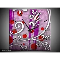 Wandklok op Canvas Art | Kleur: Paars, Grijs, Rood | F005526C