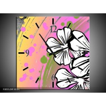 Wandklok op Canvas Art | Kleur: Paars, Wit, Geel | F005528C