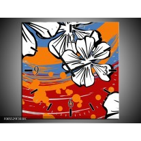 Wandklok op Canvas Art | Kleur: Rood, Wit, Oranje | F005529C
