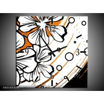 Wandklok op Canvas Art | Kleur: Wit, Oranje, Zwart | F005530C