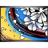 Foto canvas schilderij Art | Blauw, Wit, Zwart