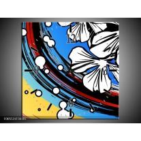 Wandklok op Canvas Art | Kleur: Blauw, Wit, Zwart | F005531C