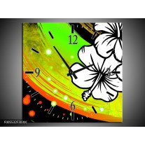 Wandklok op Canvas Art | Kleur: Groen, Zwart, Wit | F005532C