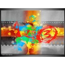 Foto canvas schilderij Art | Blauw, Grijs, Groen