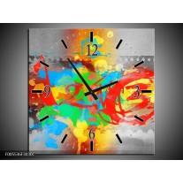 Wandklok op Canvas Art | Kleur: Blauw, Grijs, Groen | F005536C