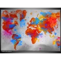 Foto canvas schilderij Wereld   Grijs, Rood, Blauw
